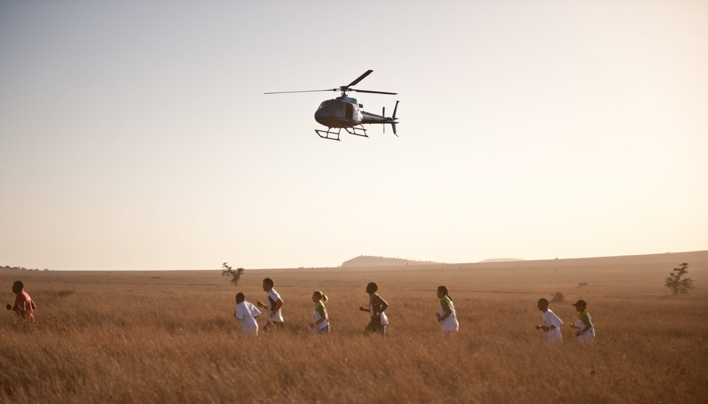 Safaricom Marathon Runners with Choppers