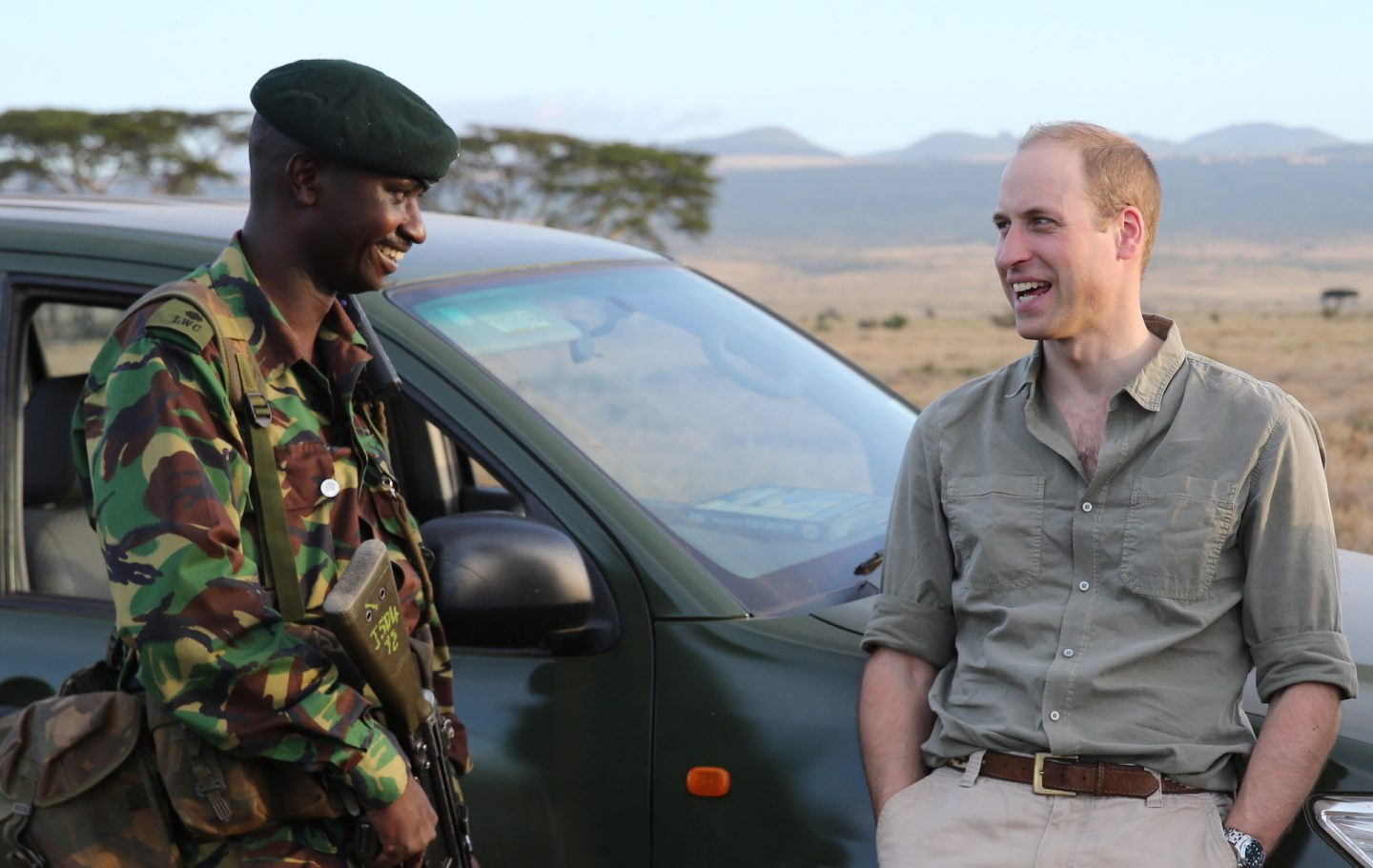 Prince William with Ranger in Lewa on March 24, 2016 in Lewa, Kenya.