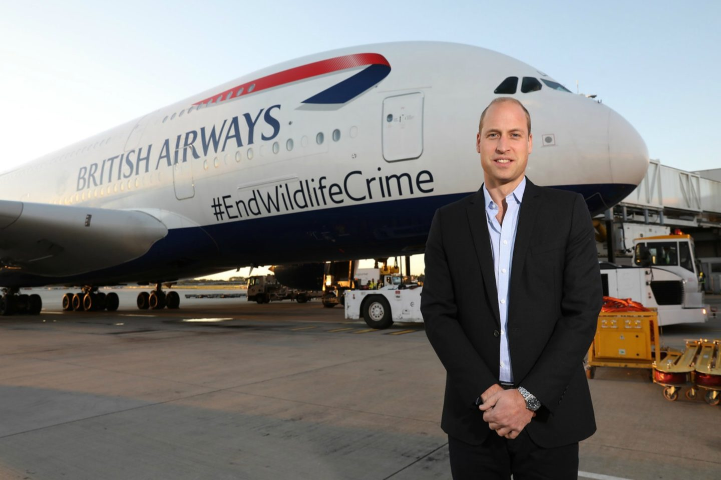 HRH Prince William, The Duke of Cambridge departs Heathrow on a British Airways A380 aircraft displaying the message #EndWildlifeCrime, on September 23, 2018 in London, England. The flight is kicking off a mission to highlight the urgent global threat to wildlife and people from the illegal wildlife trade.