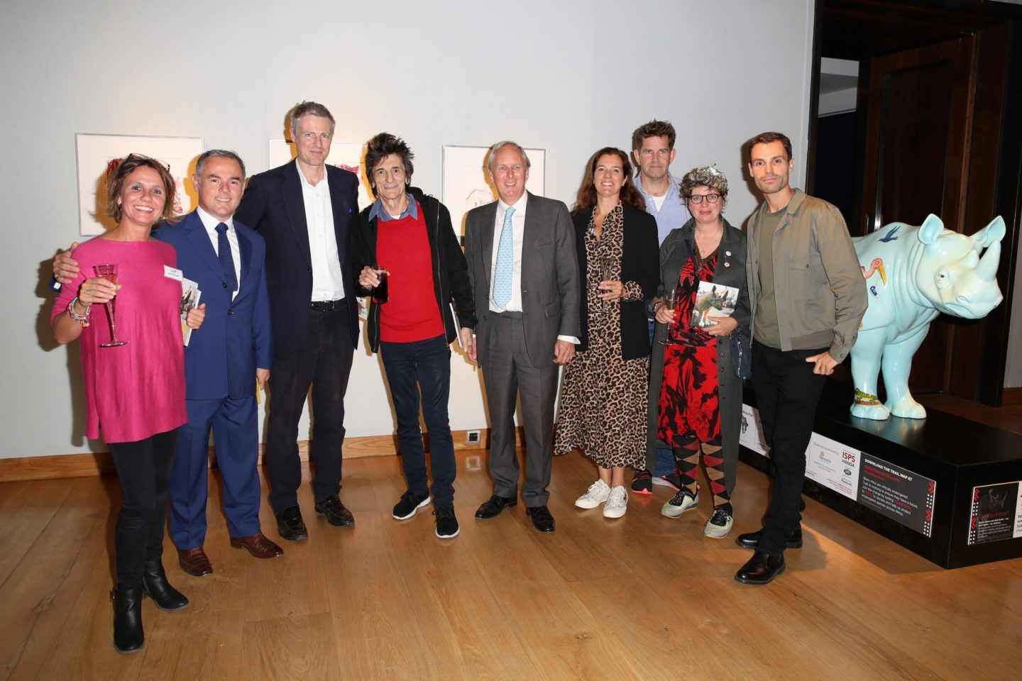 Tusk Rhino Trail Artists with Zac Goldsmith, Chris Westbrook, plus Charlie Mayhew and Adele Emmett from Tusk