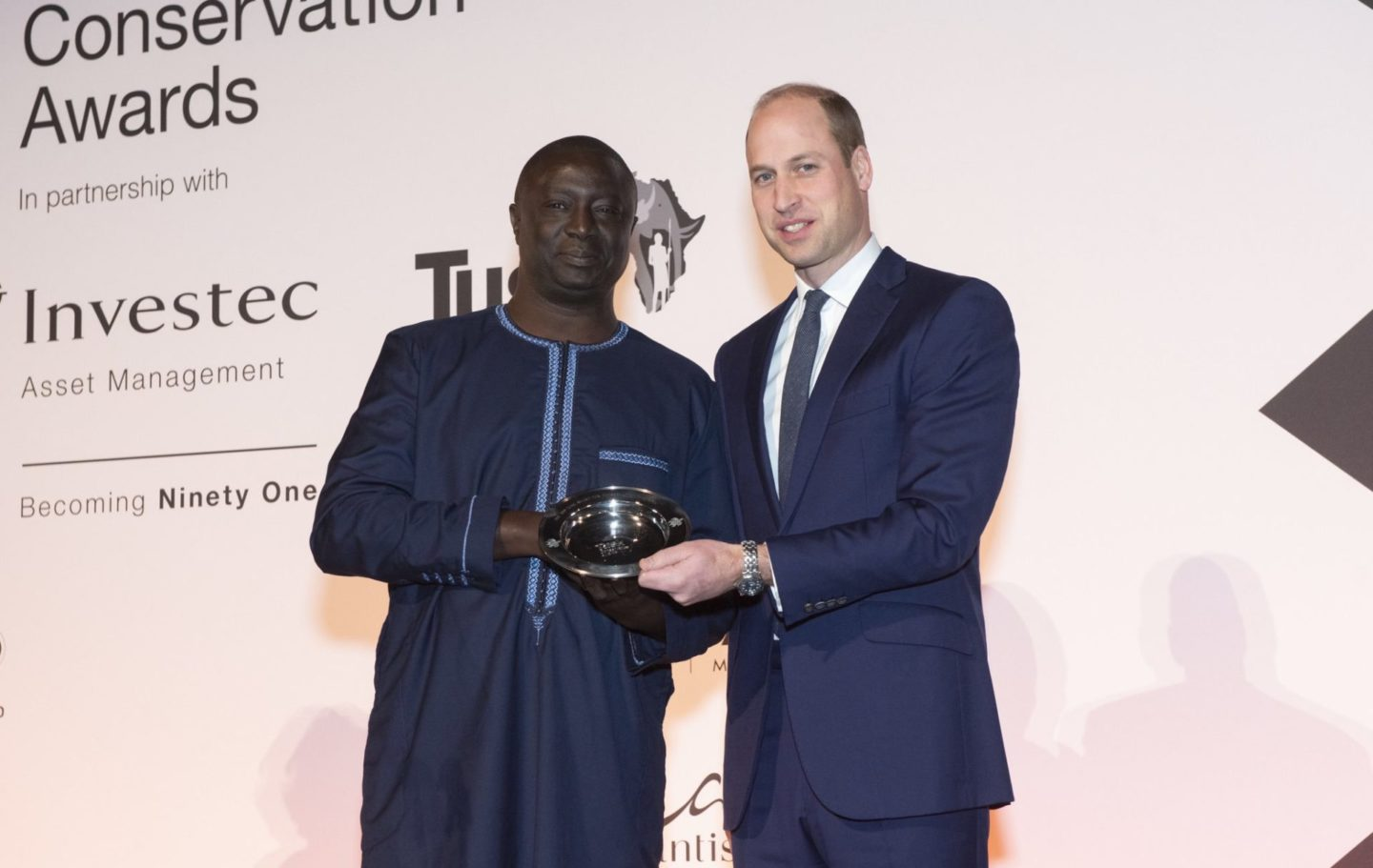 Prince William presenting the Tusk Award for Conservation in Africa to Tomas Diagne