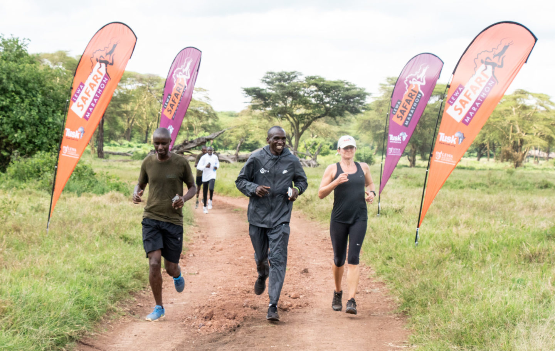 Edward Ndiritu, Eliud Kipchoge and Sarah Watson