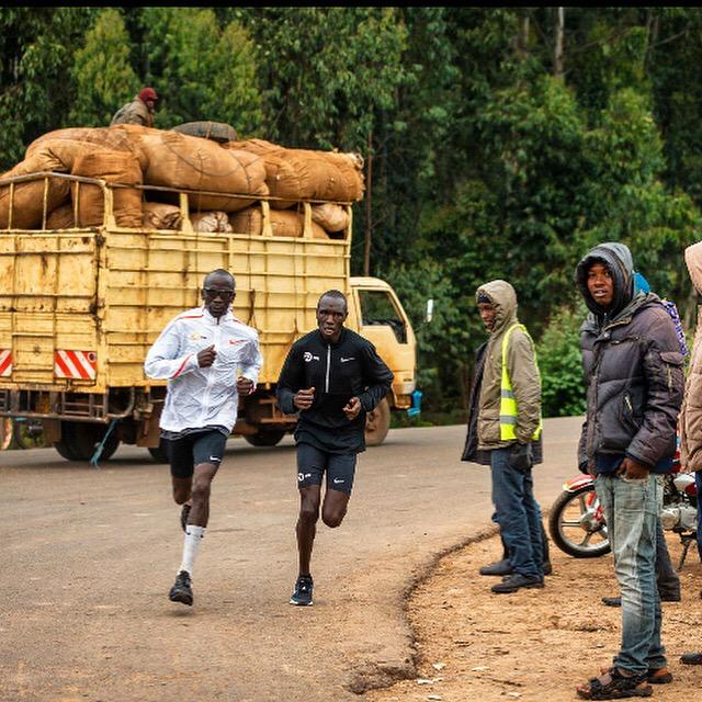 World Champion Eliud Kipchoge running in Kenya