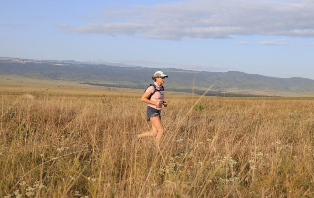 Tusk's Director of Programmes Sarah Watson running the full marathon route at the Lewa Wildlife Conservancy