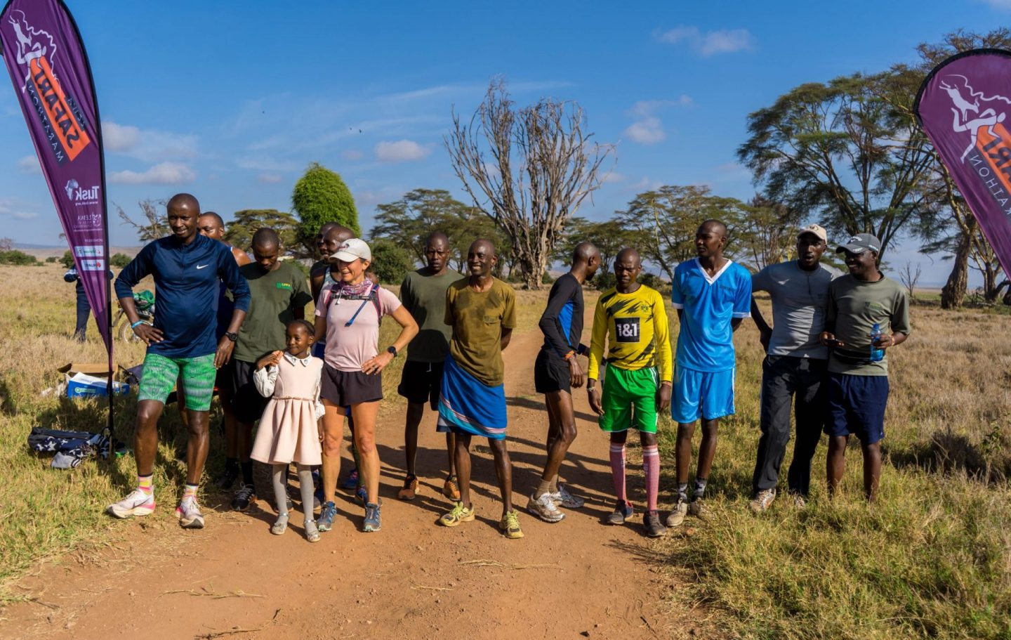 Rangers, project staff and local community members ran the physical route at the Lewa Wildlife Conservancy (c) David Kabiru